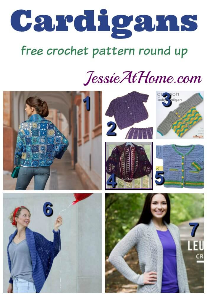 Cardigans - free crochet pattern round up from Jessie At Home