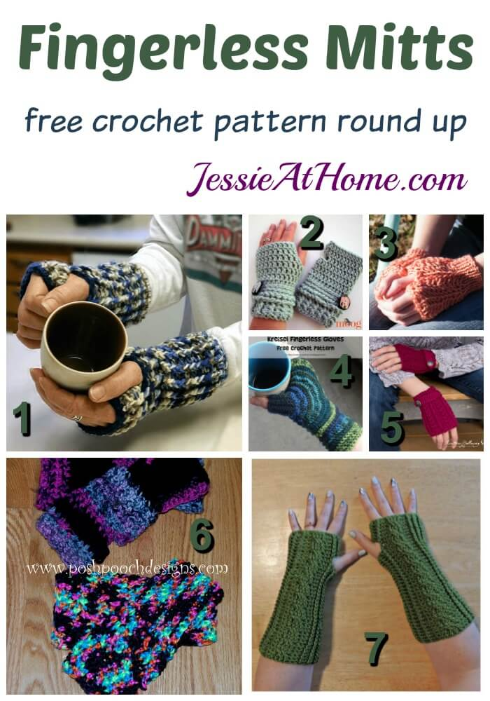 Fingerless Mitts - free crochet pattern round up from Jessie At Home