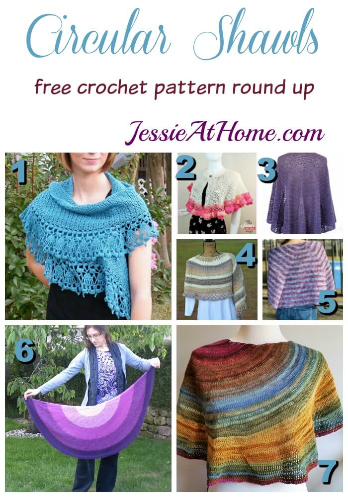 Circular Shawls free crochet pattern round up from Jessie At Home