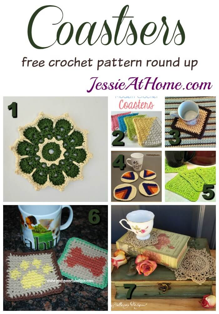 Coasters free crochet pattern round up from Jessie At Home