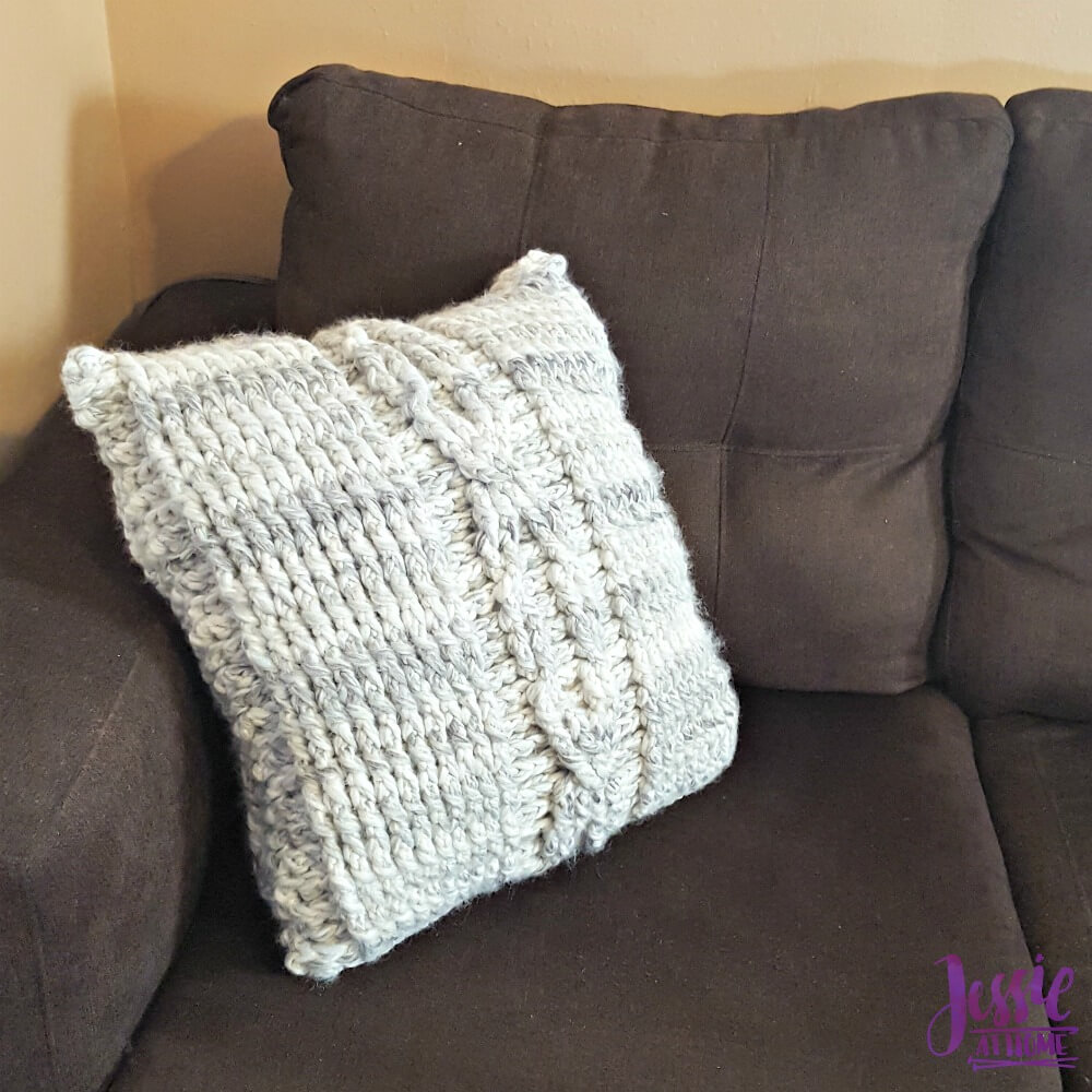 Giant Crochet Cable Pillow - free crochet pattern by Jessie At Home - 2