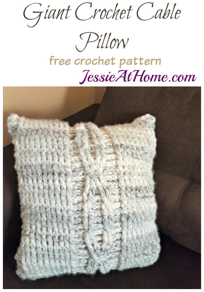 Giant Crochet Cable Pillow - free crochet pattern by Jessie At Home