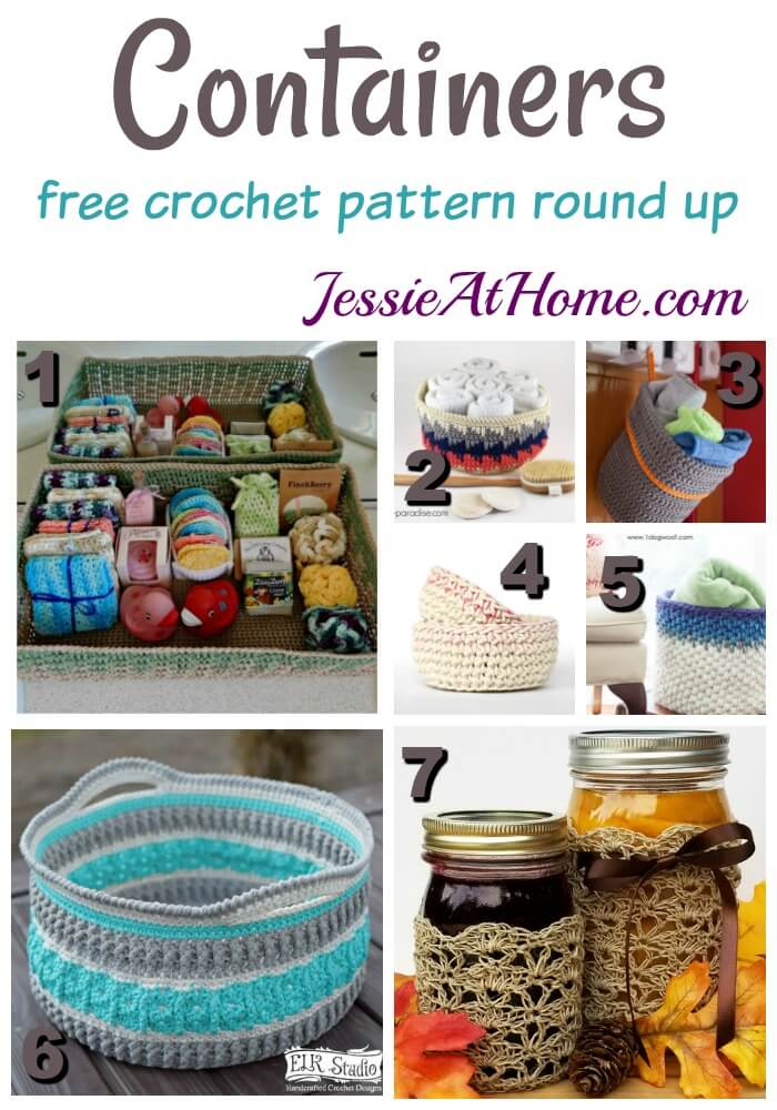 Containers - free crochet pattern round up from Jessie At Home