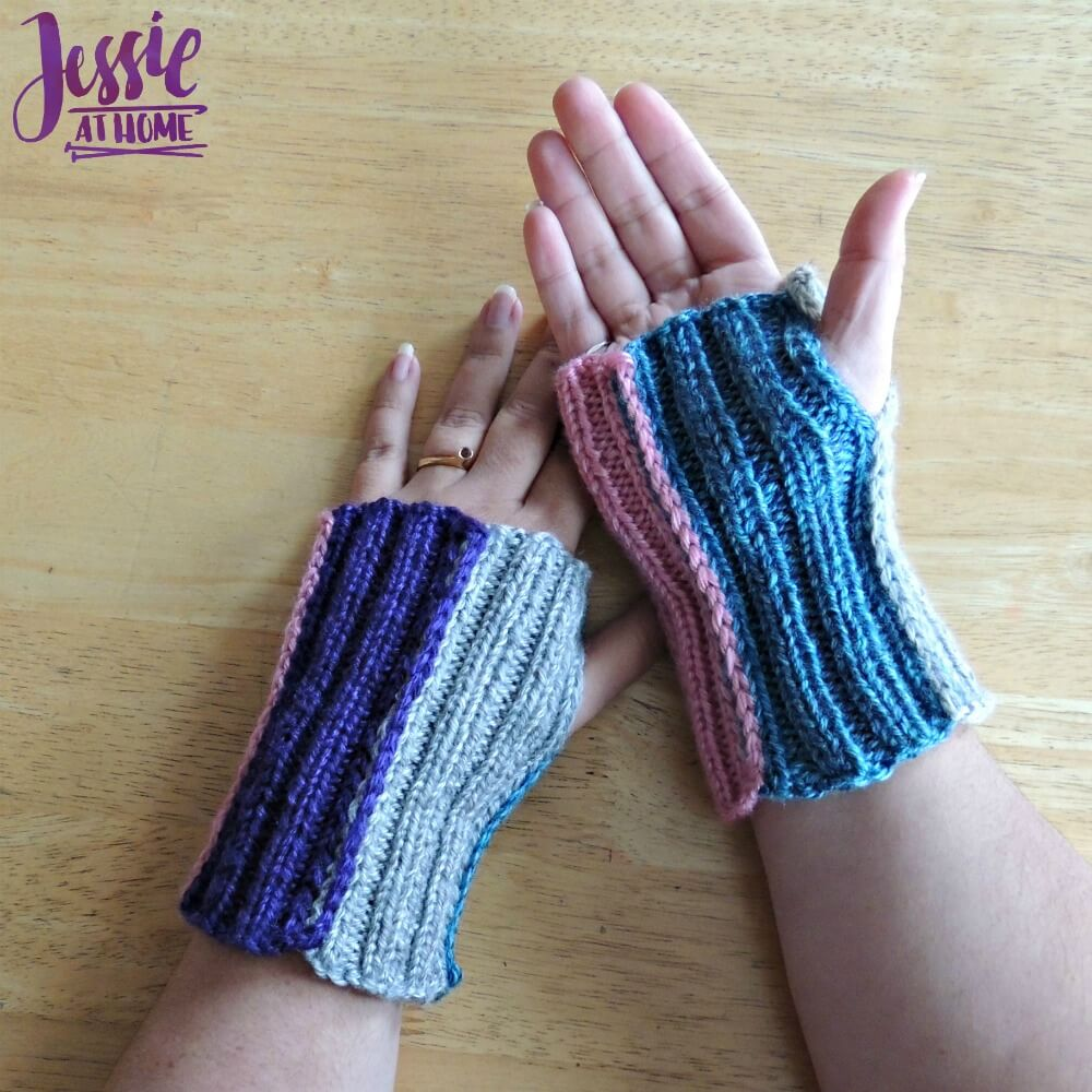 Stripey Mitts - free knit pattern by Jessie At Home - 1