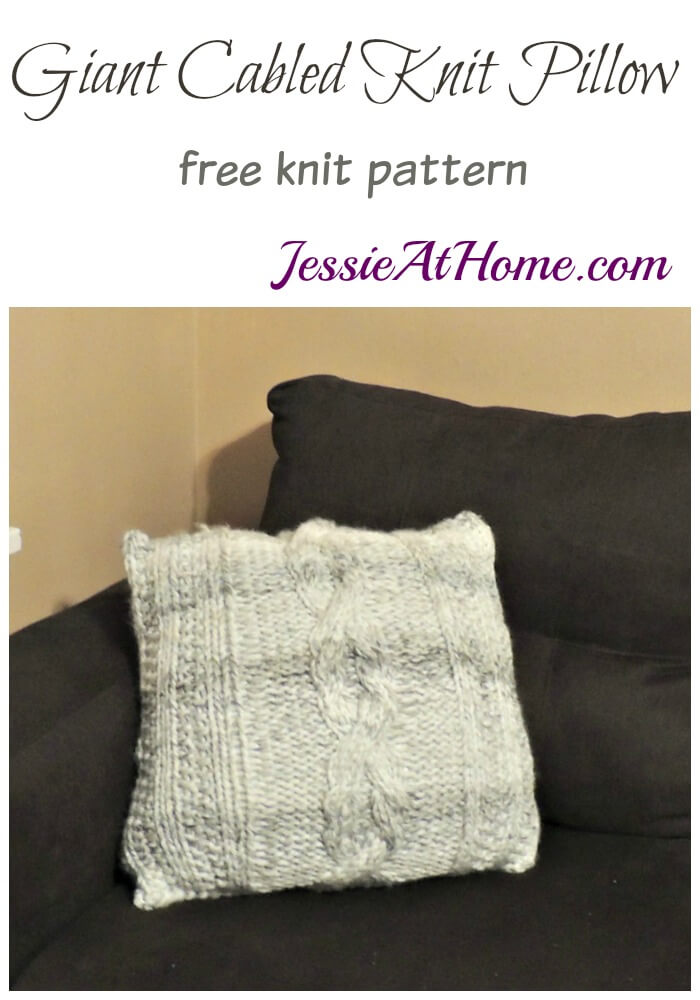 Giant Cabled Knit Pillow free knit pattern by Jessie At Home