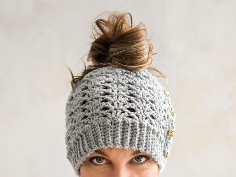 Mallory Messy Bun Beanie Craftsy Crochet Kit