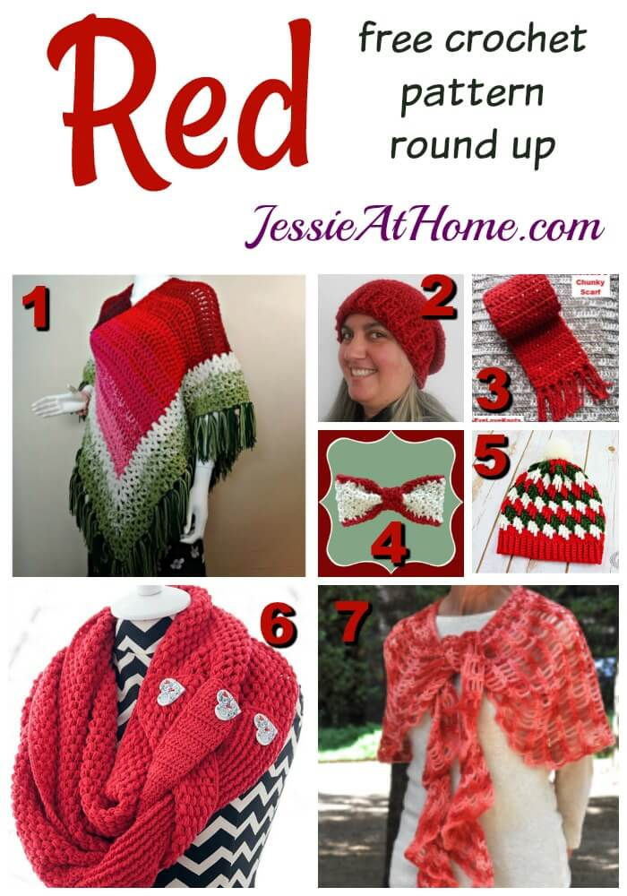 Red free crochet pattern round up from Jessie At Home