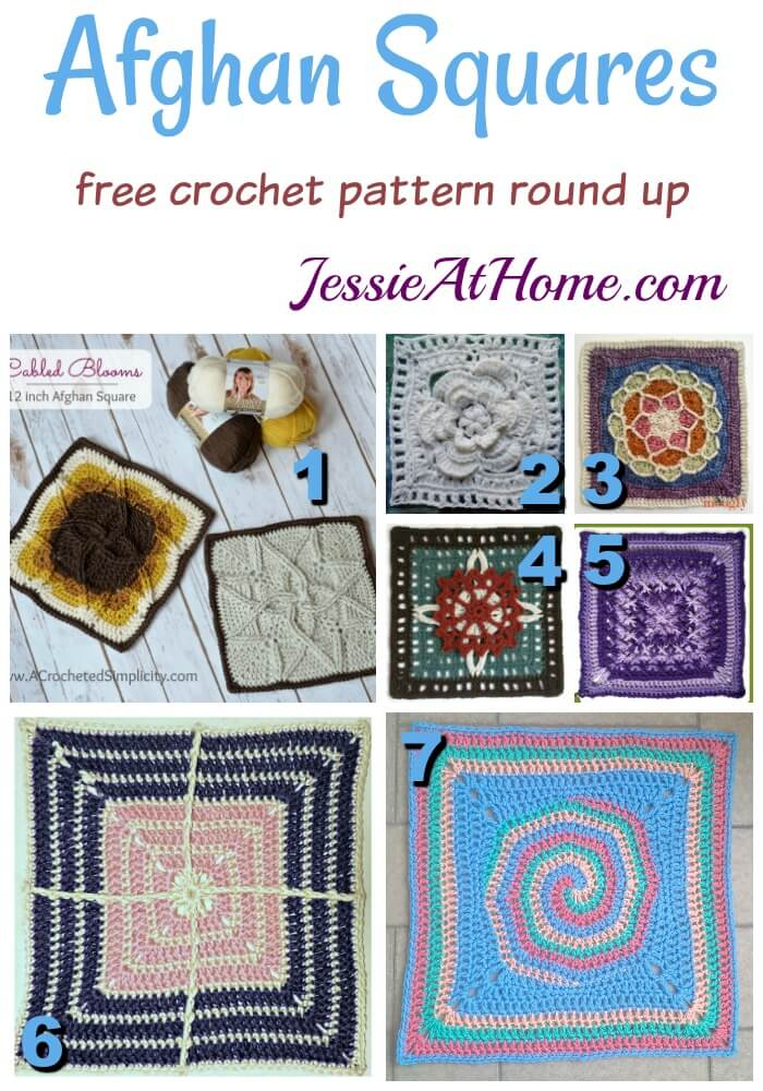 Afghan Squares - free crochet pattern round up from Jessie At Home