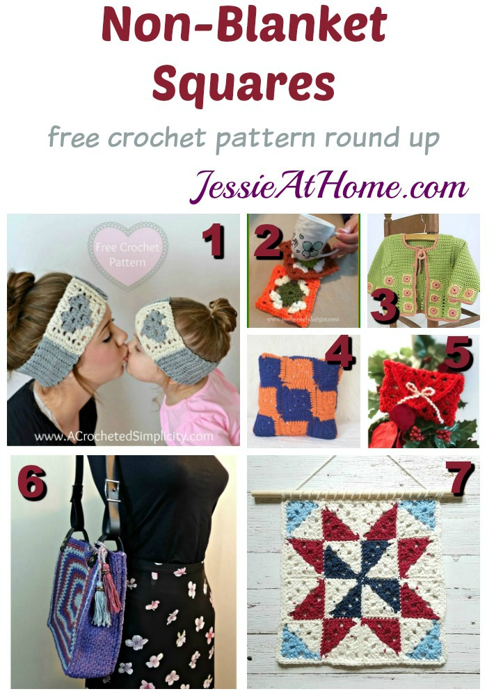 Non-Blanket Squares free crochet pattern round up from Jessie At Home