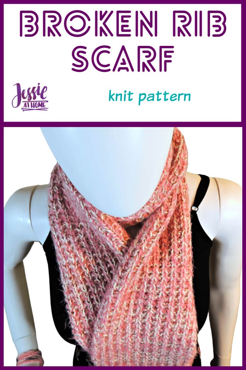 Broken Rib Scarf - knit pattern by Jessie At Home - Pin 1
