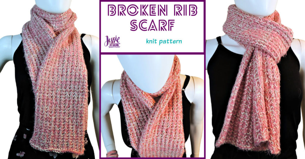 Broken Rib Scarf - knit pattern by Jessie At Home - Social