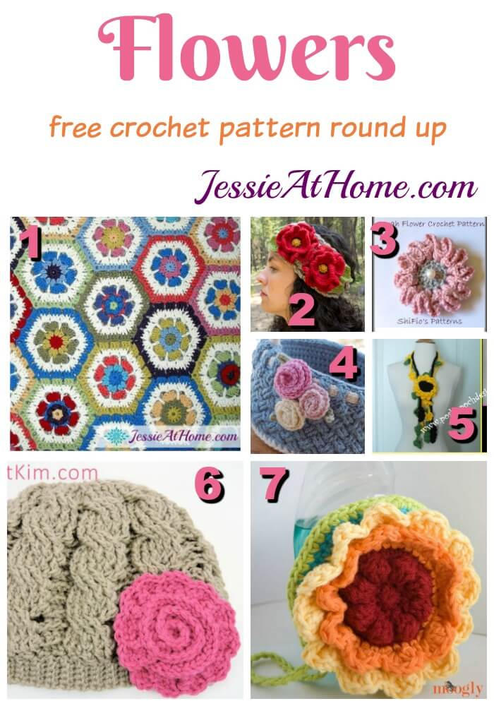 Flowers free crochet pattern round up from Jessie At Home