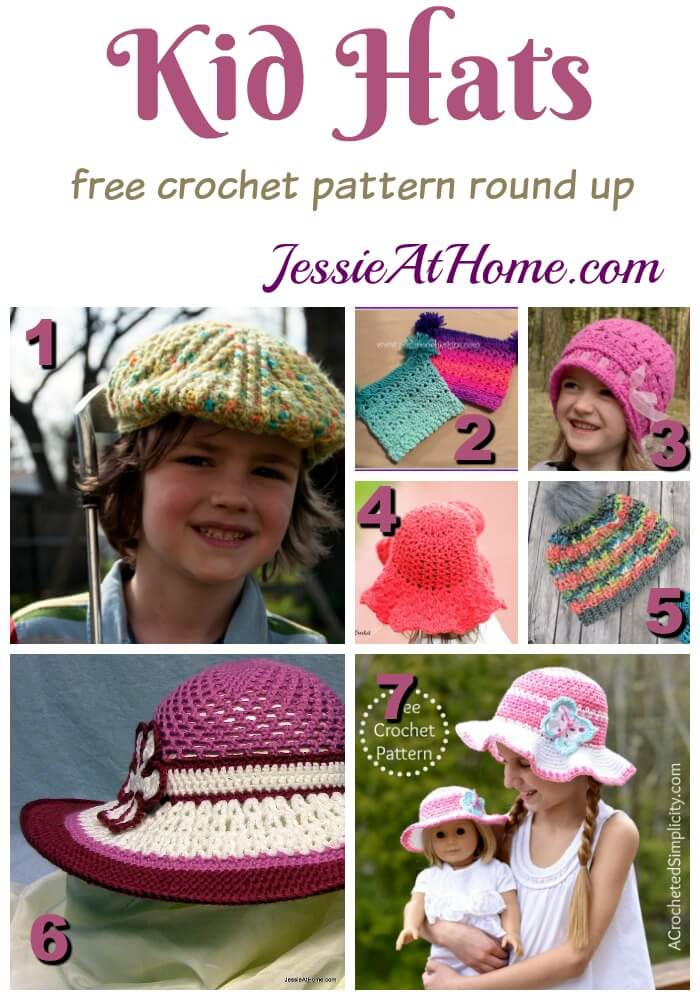 Kid Hats free crochet pattern round up from Jessie At Home