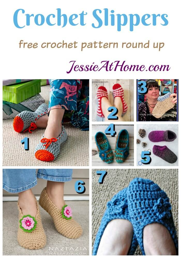Crochet Slippers free crochet pattern round up from Jessie At Home