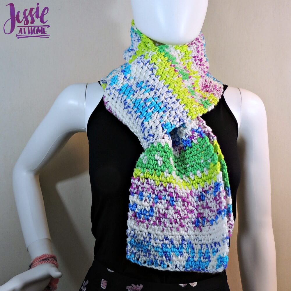 My Fair Scarf - free crochet pattern by Jessie At Home - 1 - Scarf with a Fair Isle pattern & crochet linen stitch