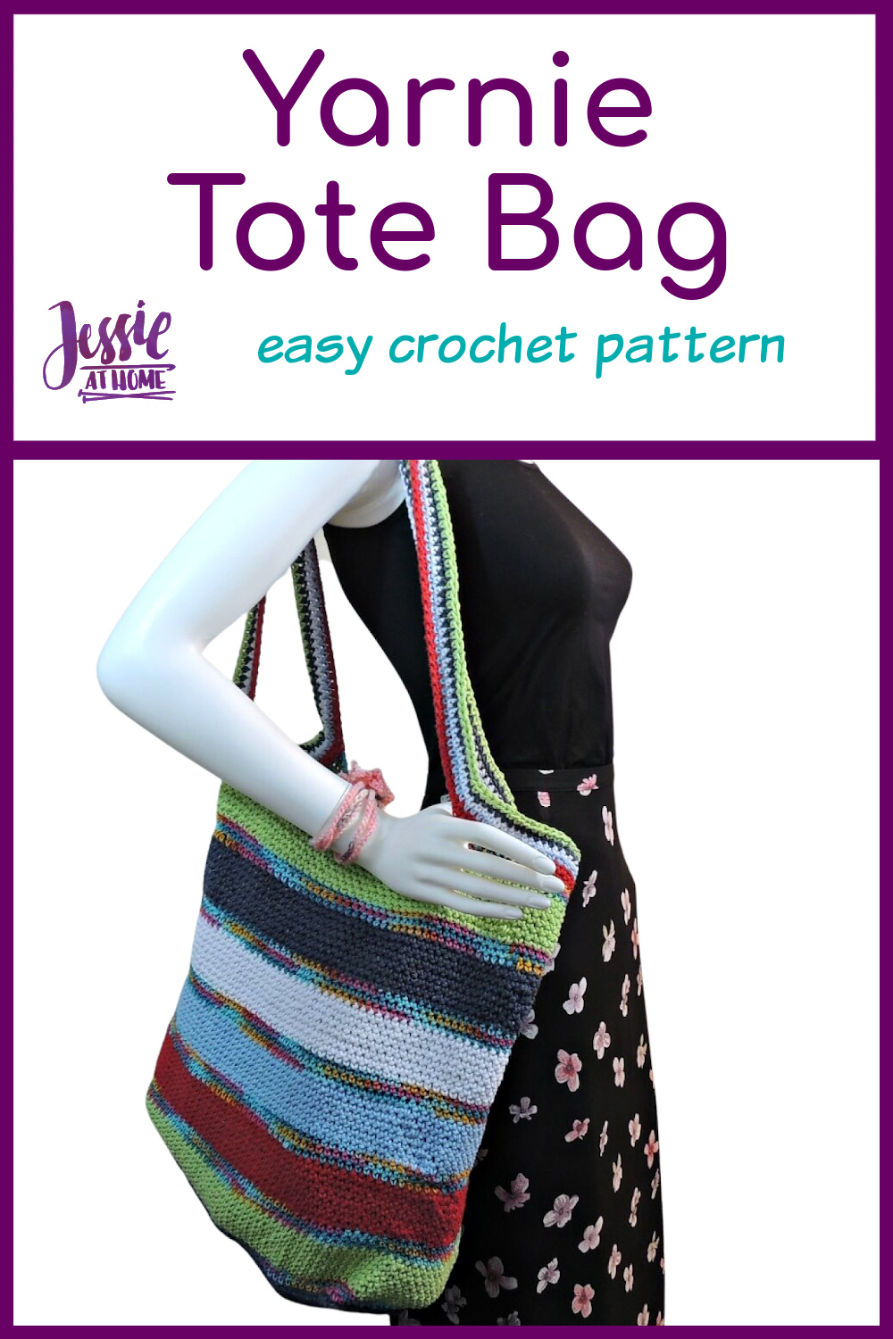 Yarnie Tote Bag - free crochet pattern by Jessie At Home - Pin 1