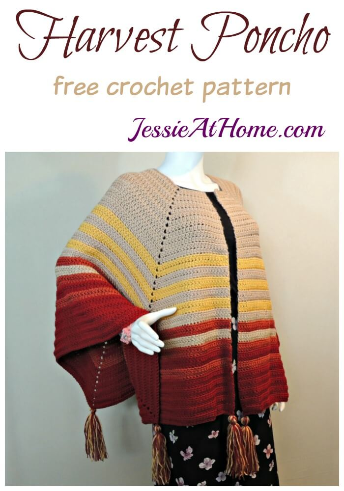 crochet poncho made with fall colors - Harvest Poncho free crochet pattern by Jessie At Home