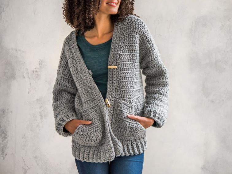Sporty Chunky One-Piece Jacket Craftsy Crochet Kit