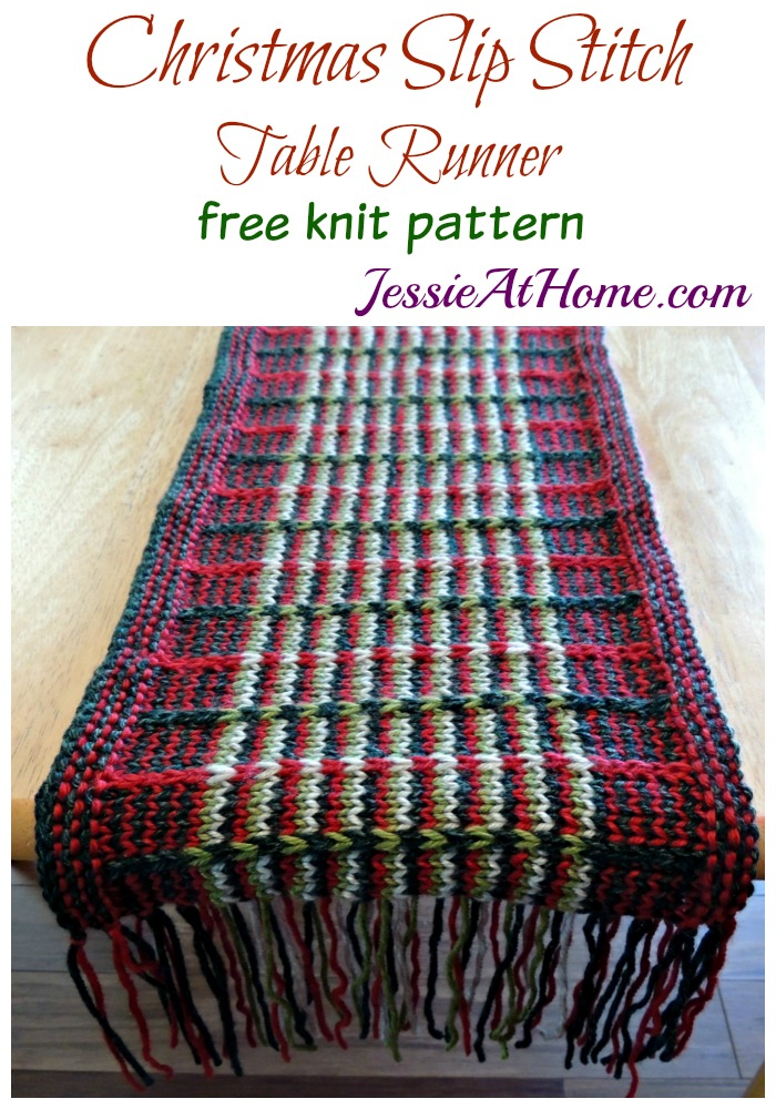 Christmas Slip Stitch Table Runner free knit pattern by Jessie At Home