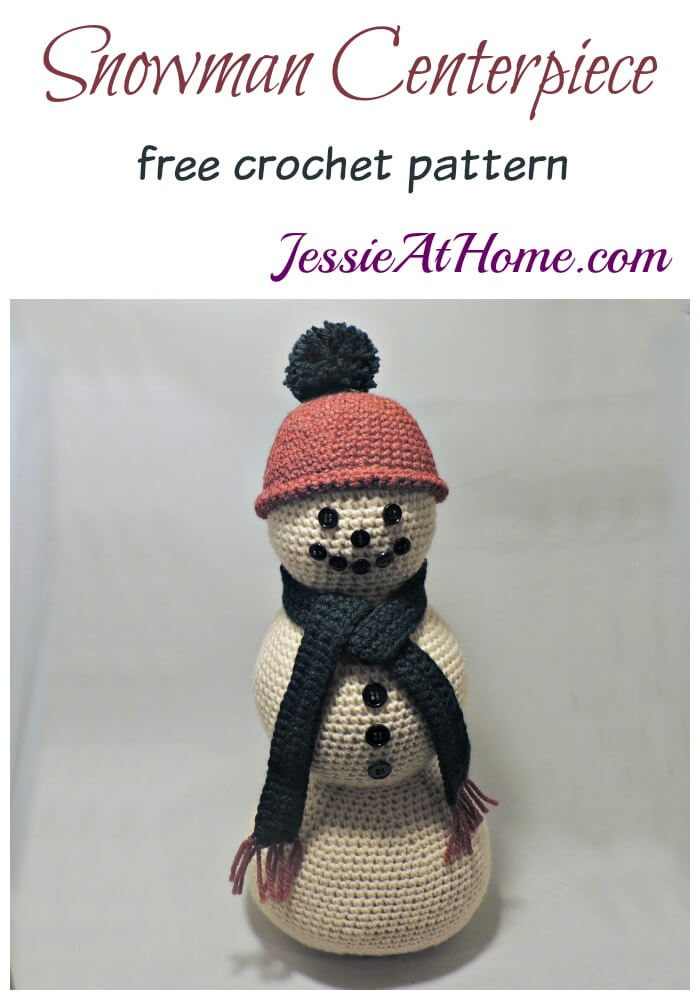 Snowman Centerpiece - free crochet pattern by Jessie At Home