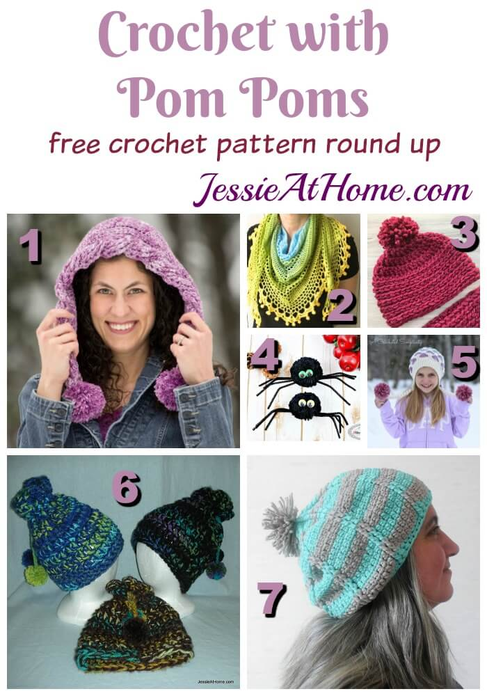 Crochet with Pom Poms - free crochet pattern round up from Jessie At Home
