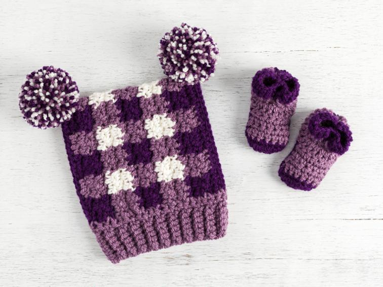 Gingham Hat & Booties Craftsy Crochet Kit