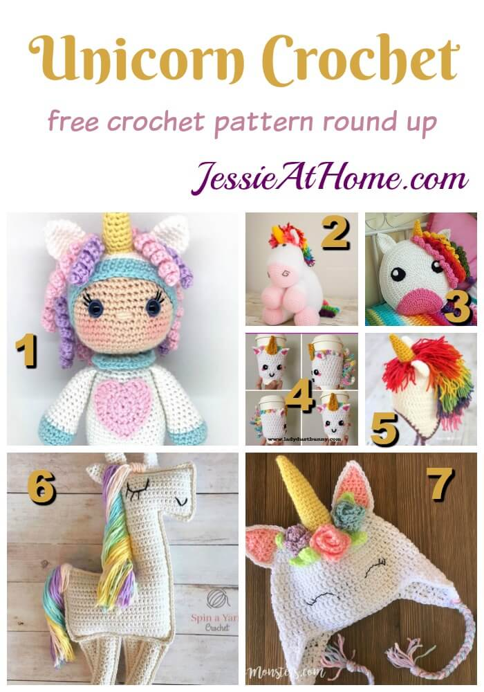Unicorn Crochet free crochet pattern round up from Jessie At Home
