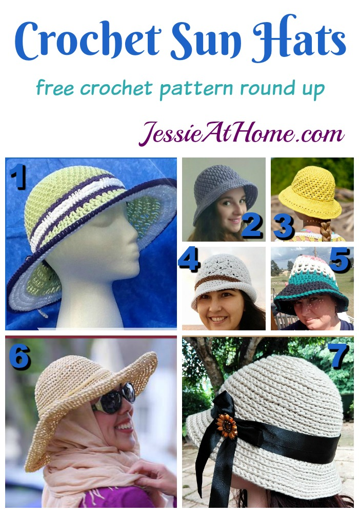 Crochet Sun Hats free crochet pattern round up from Jessie At Home
