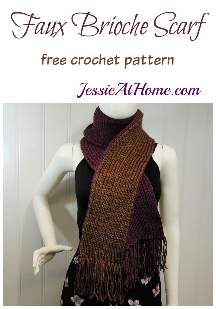 Faux Brioche Scarf free crochet pattern by Jessie At Home