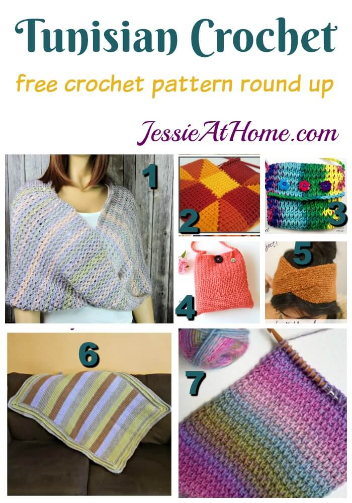 Tunisian Crochet free crochet pattern round up from Jessie At Home