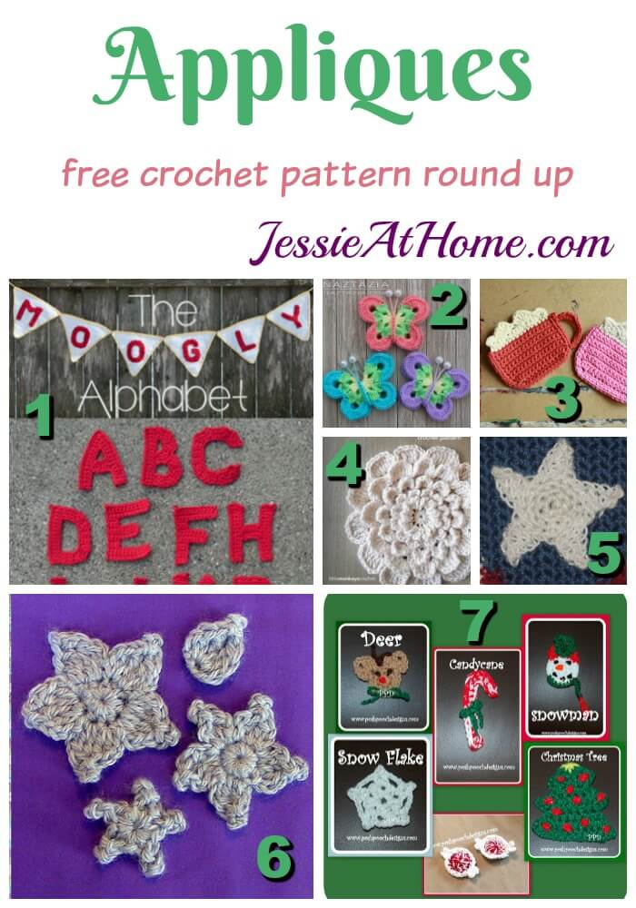 Appliques free crochet pattern round up from Jessie At Home