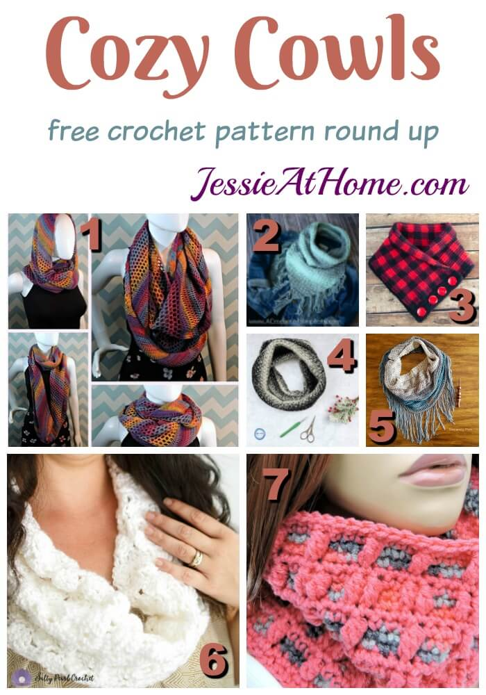 Cozy Cowls free crochet pattern round up from Jessie At Home