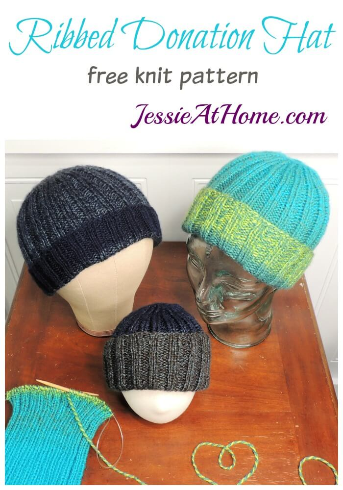 Ribbed Donation Hat free knit pattern by Jessie At Home