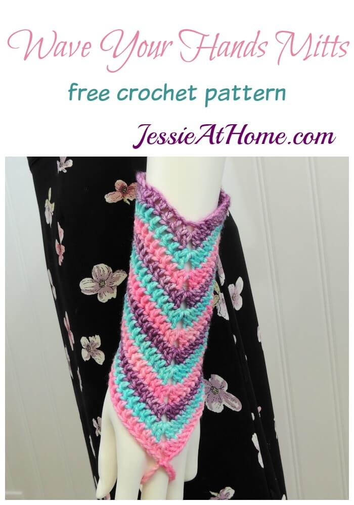 Wave Your Hands Mitts free crochet pattern by Jessie At Home