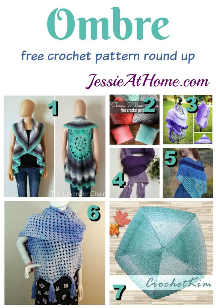 Ombre free crochet pattern round up by Jessie At Home