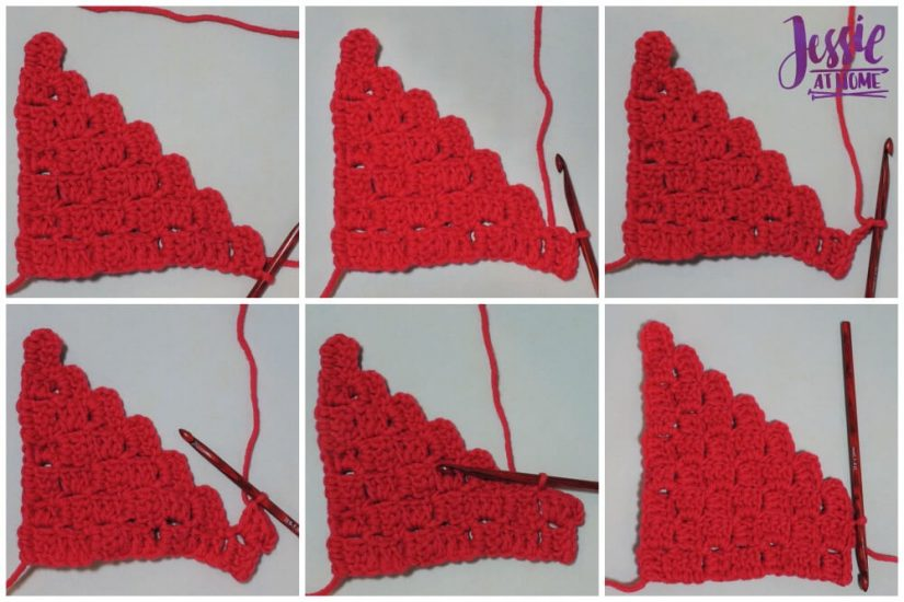 Scarf Squared - C2C Box Stitch free crochet pattern and tutorial by Jessie At Home -Decrease-Increase
