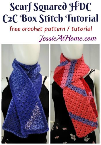 Scarf Squared Half Double Crochet C2C Box Stitch Tutorial - free crochet pattern and tutorial by Jessie At Home