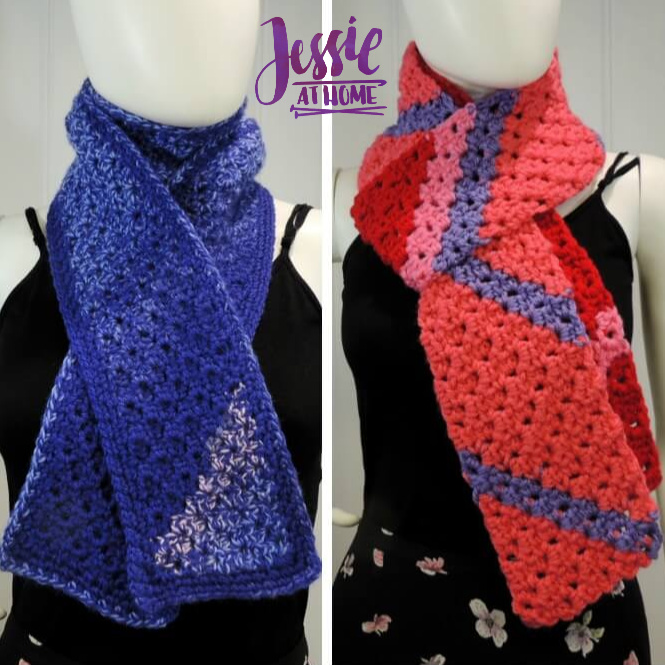 Scarf Squared Half Double Crochet C2C Box Stitch Tutorial - free crochet pattern and tutorial by Jessie At Home - square
