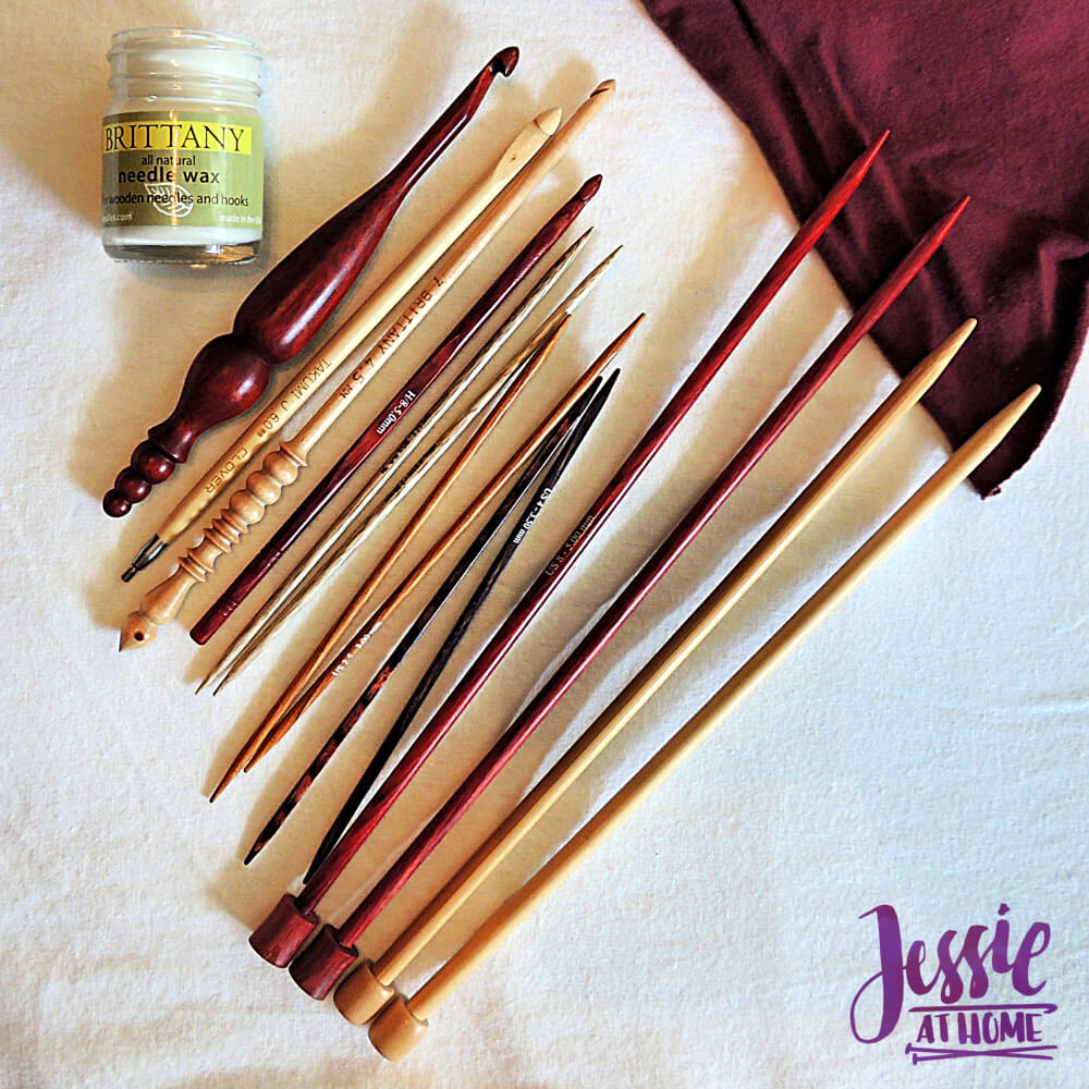 Caring for Wooden Crochet Hooks and Knitting Needles from Jessie At Home - flat lay