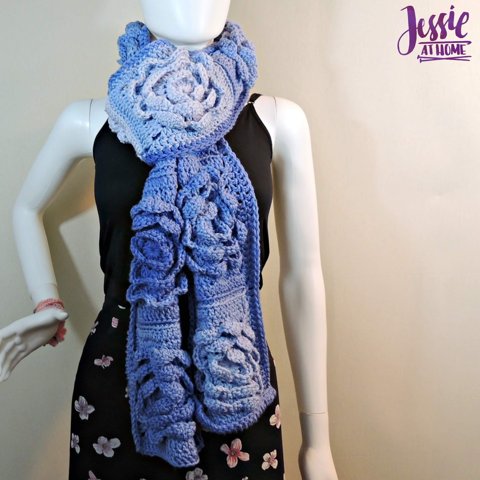 Flower Granny Square Bloom Crochet Scarf free crochet pattern by Jessie At Home - 1