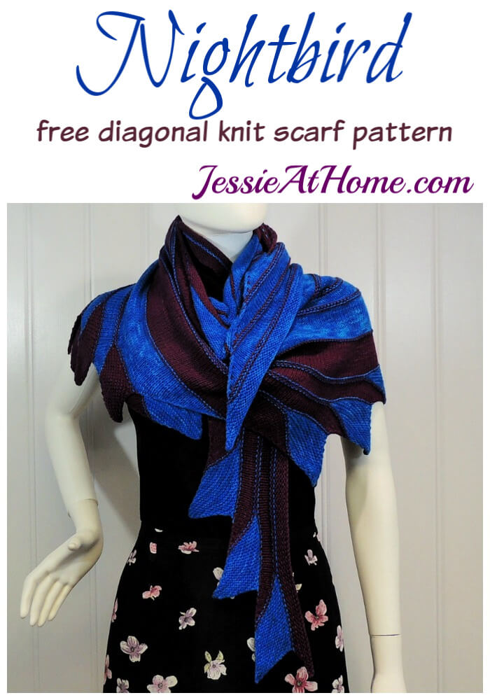 Nightbird - free diagonal knit scarf pattern by Jessie At Home