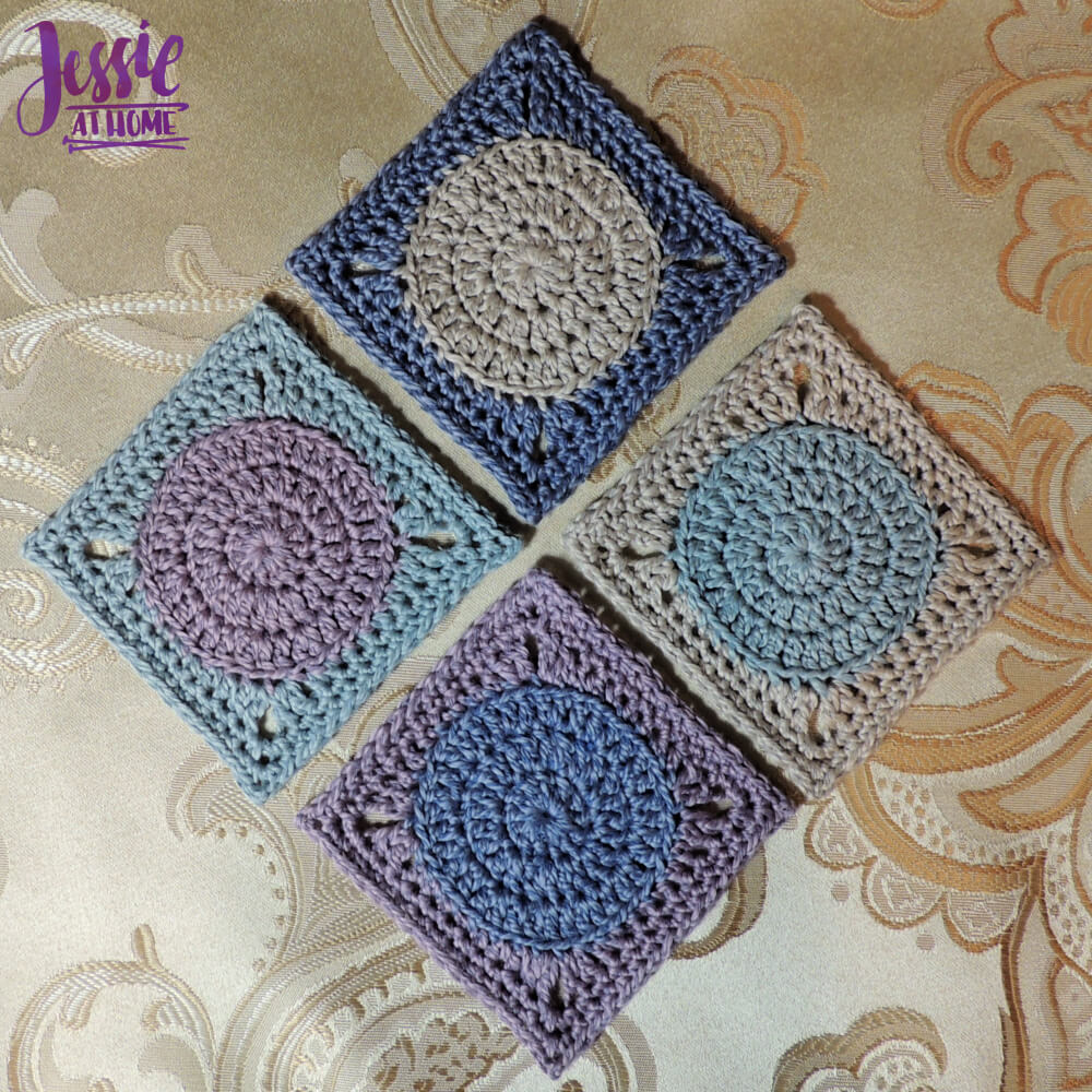 Crochet Circle to Square Hit The Spot Coasters crochet pattern by Jessie At Home - 1