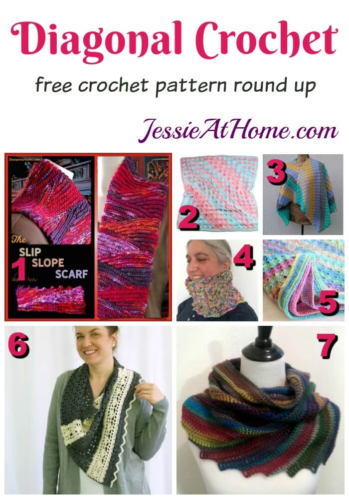 Diagonal Crochet free crochet round up pattern from Jessie At Home