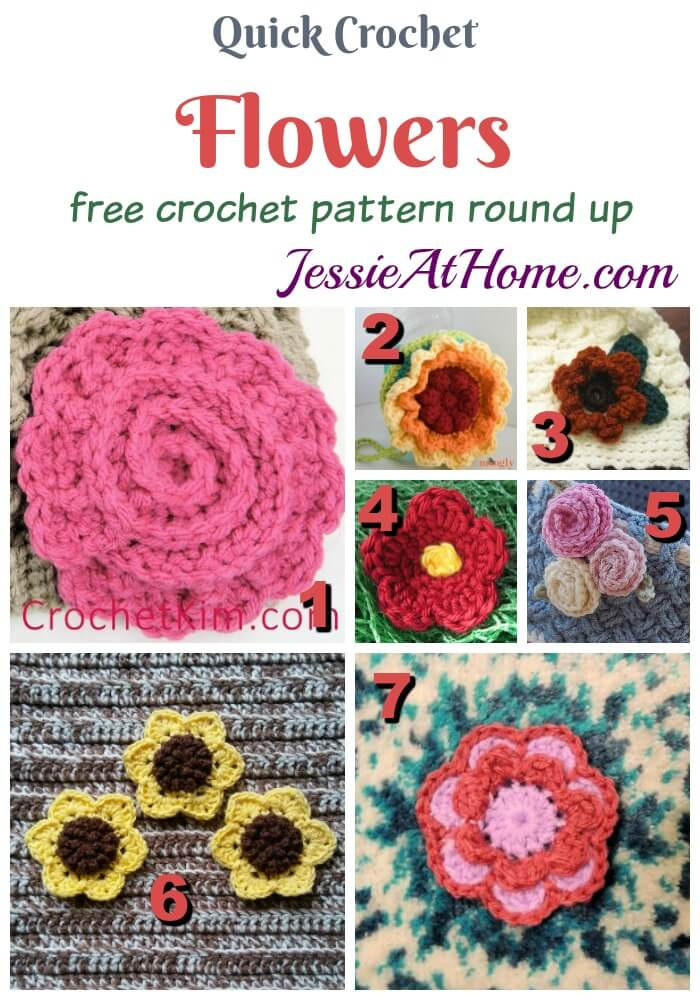 Quick Crochet Flower Appliques free crochet pattern round up from Jessie At Home