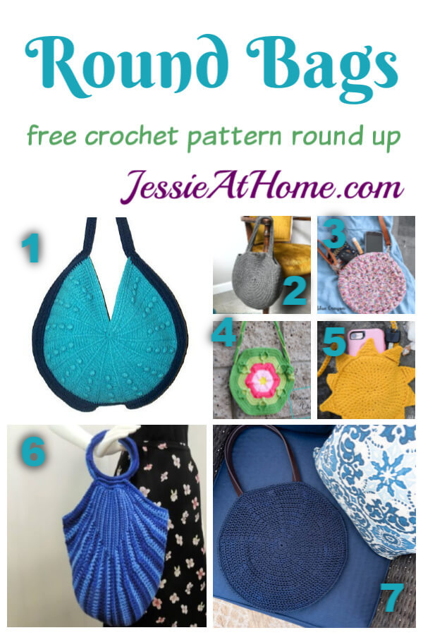 Round Bag Crochet Patterns- free crochet pattern round up from Jessie At Home
