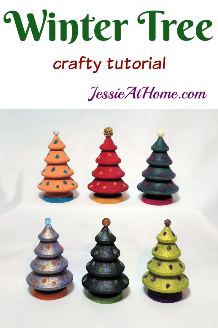 Winter Tree Craft - Mini wood trees with paint, flocking, and beads!