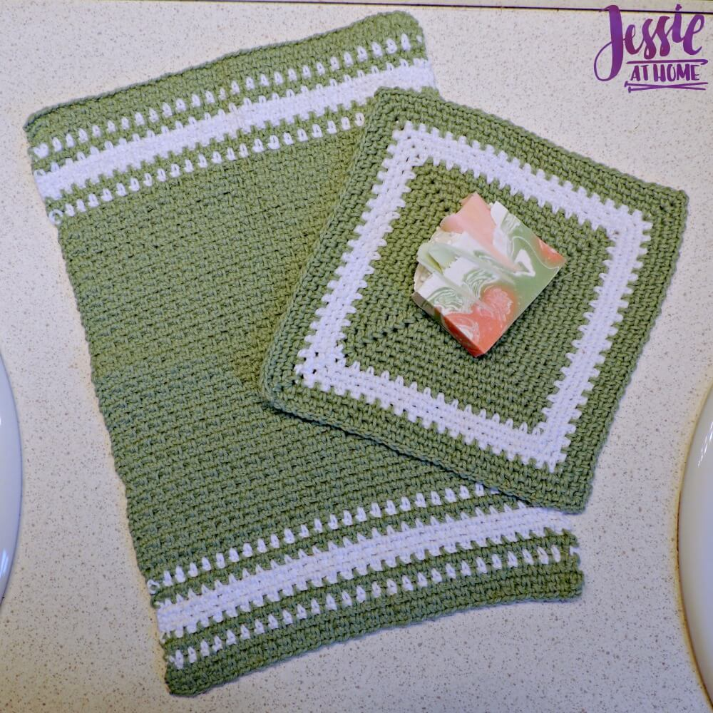 Crochet Spa Towel Set - Spearmint Hand and Face Towels crochet pattern by Jessie At Home - 1