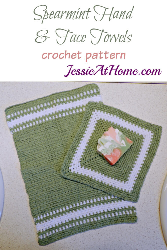 Crochet Spa Towel Set - Spearmint Hand and Face Towels crochet pattern by Jessie At Home