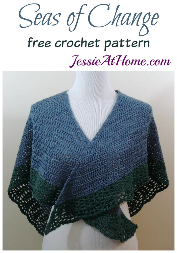 Easy Crochet Lace Bordered Shawl - Seas of Change - crochet pattern by Jessie At Home