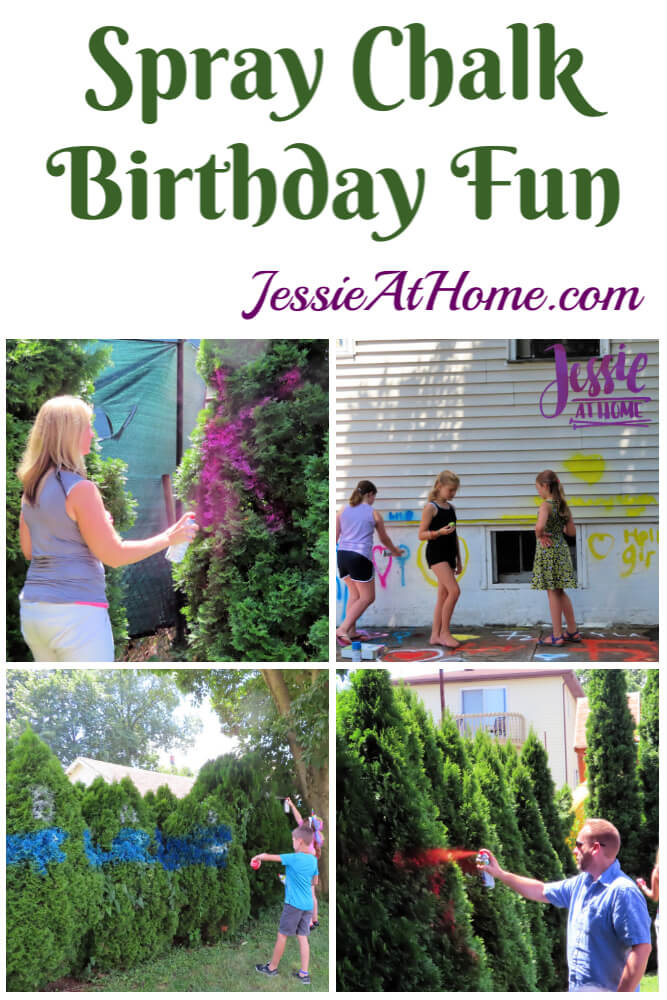 Spray Chalk Everywhere! Birthday party fun for the 12 year old twins.